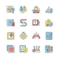 Electrician service RGB color icons set. Changing lightbulb. Operating with electric devices, equipment. Isolated vector illustrations. Appliance damage simple filled line drawings collection