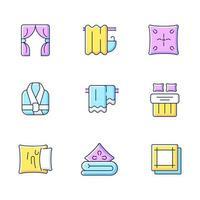 Conjunto de iconos de colores rgb de productos textiles para el hogar. Persianas. cortinas de baño. funda de almohada. bata de baño. ilustraciones vectoriales aisladas. elemento de material para el hogar colección de dibujos lineales rellenos simples vector
