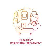 In patient residential treatment concept icon. Rehabilitation types. Medical help for ill patients. Illness abstract idea thin line illustration. Vector isolated outline color drawing