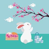 rabbit with flowers in wooden box character vector