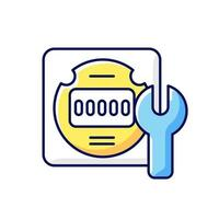 Electrical meter repair RGB color icon. Clock-like device installation. Energy meter maintenance. Isolated vector illustration. Providing information about energy usage simple filled line drawing