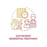 Out patient residential treatment concept icon. Rehabilitation types. Dangerous disease treatment. Patients abstract idea thin line illustration. Vector isolated outline color drawing