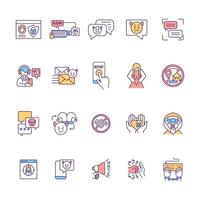 Cyberharassment RGB color icons set. Security option. Anonymity in online interactions. Text bullying. Social media threat for adolescents. Cyberstalking prevention. Isolated vector illustrations