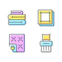 Conjunto de iconos de color rgb de textiles para el hogar. sábanas dobladas. manta eléctrica. servilletas de cocina. ropa de cama de lino. ilustraciones vectoriales solated. colección de dibujos de líneas rellenas simples de productos textiles vector