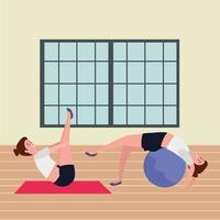 girls couple practicing pilates with balloon in the gym vector