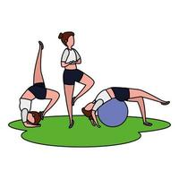 girls group practicing pilates with balloon in grass vector