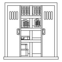 office shelving with pile text books library vector