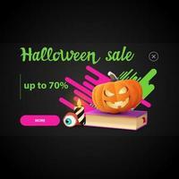 Halloween sale, pop up window for website with spell book and pumpkin Jack vector
