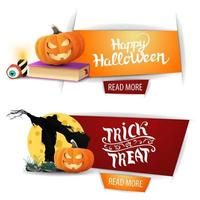 Happy Halloween, two modern banners with button, spell book, Scarecrow and pumpkin Jack vector