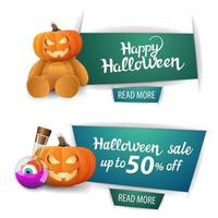 Halloween sale, two modern banners with button, Teddy bear with Jack pumpkin head, pumpkin Jack and witch's potion vector