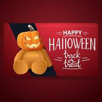 Happy Halloween, modern red banner with Teddy bear with Jack pumpkin head vector