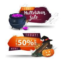 Halloween sale, two discount web banners for your business with witch's pot, wooden sign, witch hat and pumpkin Jack vector