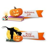 Halloween sale, two discount banners in the form of ribbons with spell book, Scarecrow and pumpkin Jack vector
