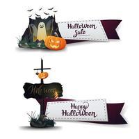 venta de halloween, dos pancartas de descuento en forma de cintas con portal con fantasmas y calabaza vector