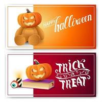 Happy Halloween, trick or treat, two postcards with Teddy bear with Jack pumpkin head, spell book and pumpkin Jack vector