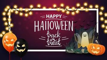 feliz halloween, plantilla rosa horizontal con guirnalda, marco, portal con fantasmas y calabaza jack vector