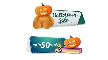 Halloween sale, up to 50 off, two clickable discount banner with Teddy bear with Jack pumpkin head, spell book and pumpkin Jack vector