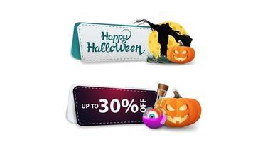 venta de halloween, hasta 30 de descuento, dos pancartas de descuento en las que se puede hacer clic con espantapájaros y calabaza vector