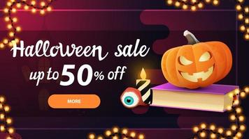 Halloween sale, -50 off, pink horizontal discount banner with button, spell book and pumpkin Jack vector