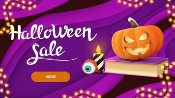 Halloween sale, horizontal purple discount banner in paper cut style with spell book and pumpkin Jack vector