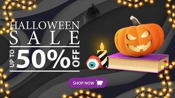 Halloween sale, horizontal gray discount banner in paper cut style with spell book and pumpkin Jack vector
