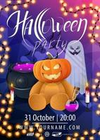 Halloween party, beautiful modern poster layout ready to print with witch's pot, pumpkin Jack, ghosts and Teddy bear with Jack pumpkin head vector