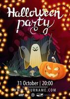 fiesta de halloween, hermoso diseño de póster moderno listo para imprimir con portal con fantasmas y calabaza jack vector