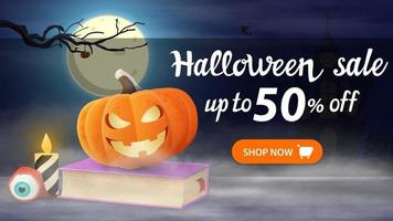 Halloween sale, -50 off, horizontal discount banner with night landscape, spell book and pumpkin Jack vector