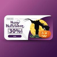 venta de halloween, hasta -30 de descuento, banner de descuento moderno con espantapájaros y calabaza contra la luna vector