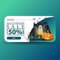 venta de halloween, hasta -50 de descuento, banner de descuento moderno con portal con fantasmas y calabaza vector