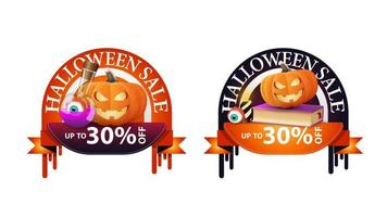 Halloween sale, -30 off, two round discount banners with spell book, witch's potion and pumpkin Jack vector