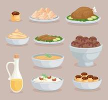 ten arabic foods vector