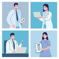 doctors with icons vector
