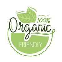 Organic friendly label vector