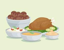 salsas y comidas árabes vector