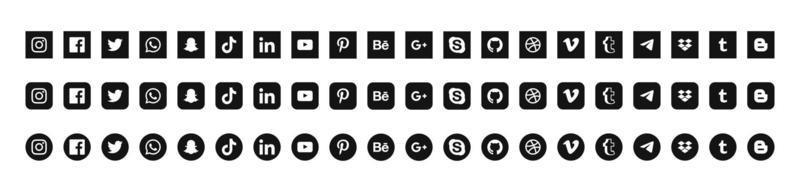All popular social media icons collection vector