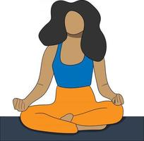 meditating woman flat character perfect for design project vector