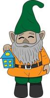cute gnomes with lantern perfect for design project vector