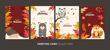 Greeting Card Autumn Collection vector