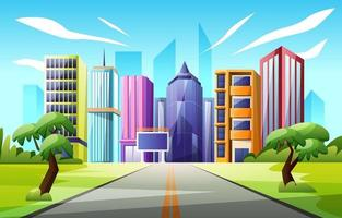 Street to City Scenery Background vector