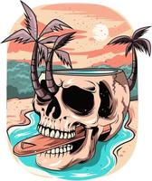 14. summer skull with sunset background in the river vector