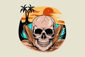13. summer skull with sunset view in the beach vector