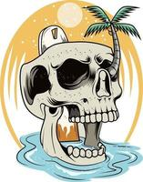 28. summer skull with beauty view vector