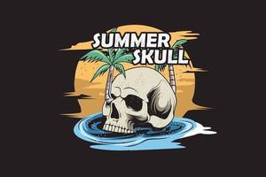 24. summer skull hand drawn illustration vector
