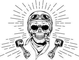 21. racing skull hand drawn vector
