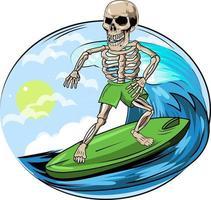 12. summer skull surfing in paradise vector