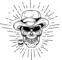 smoker skull hand drawing illustration vector