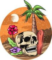 16. summer skull with sunset background vector