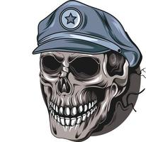 head skull wearing cap police vector