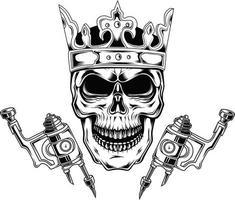 king tattoo skull wearing crownd vector